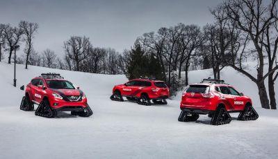 Nissan Winter Warriors, le Pathfinder, Murano e Rogue con i cingoli