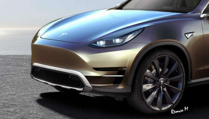 Tesla Model Y, rendering del crossover compatto elettrico - Foto 3 di 3