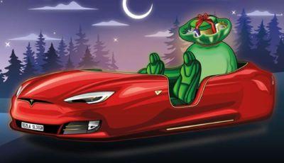 """La Slitta di Babbo Natale in versione """"auto"""" secondo Tesla (e non solo)"""