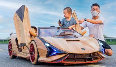 Lamborghini Sian: il modellino elettrico in legno è un vero capolavoro!